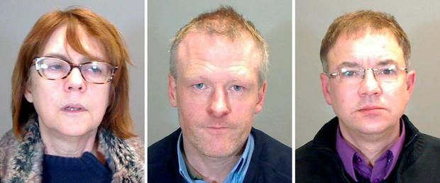Undated Norfolk Constabulary handout photo of (left to right) Carol Stadler, Michael Rogers and Jason Adams, who have been found guilty today off being part of a paedophile ring, led by Marie Black