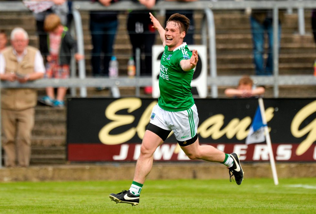 Fermanagh's Tomás Corrigan celebrates his wonderful goal against Westmeath