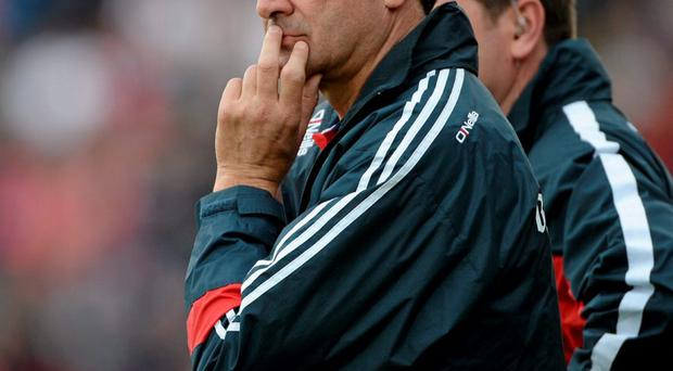 Cork manager Jimmy Barry Murphy near the end of the GAA Hurling All-Ireland Senior Championship quarter-final against Galway