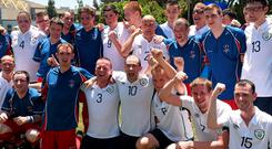 27 July 2015; Members of Team Ireland and Team GB gather for a combined team photograph after their nil all draw at the Drake Stadium. Special Olympics World Summer Games, Los Angeles, California, United States. Picture credit: Ray McManus / SPORTSFILE