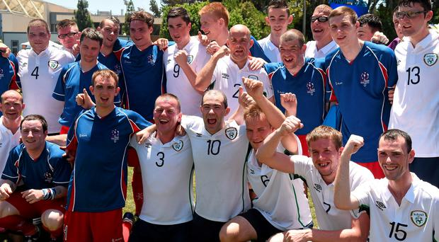 Members of Team Ireland and Team GB gather for a combined team photograph after their nil all draw at the Drake Stadium. Special Olympics World Summer Games, Los Angeles, California, United States. Picture credit: Ray McManus / SPORTSFILE