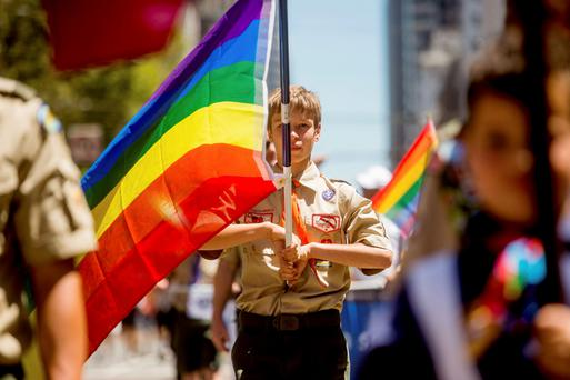 Boy Scout Casey Chambers carries a rainbow flag during the San Francisco Gay Pride Festival in California in this June 29, 2014 file photo. REUTERS/Noah Berger/Files