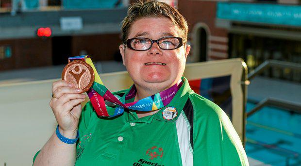 27 July 2015; Team Ireland's Sarah Jane Johnston, a member of Ripples Sports Special Olympics Club, from Lurgan, Co Armagh, who won Bronze at the Uytengsu Aquatics Center. Special Olympics World Summer Games, Los Angeles, California, United States. Picture credit: Ray McManus / SPORTSFILE