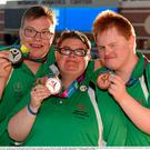Team Ireland's Sean Coleman, left, a member of Cork Special Olympics Swimming Club, from Youghal, Co Cork, with his Silver Medal - 25M Backstroke, Sarah Jane Johnston, a member of Ripples Sports Special Olympics Club, from Lurgan, Co Armagh, Bronze and Gary McEnroe, a member of St John of God Menni Services, from Tallaght, Dublin, who won Bronze at the Uytengsu Aquatics Center. Special Olympics World Summer Games, Los Angeles, California, United States. Picture credit: Ray McManus / SPORTSFILE