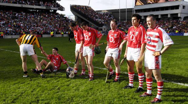 Ronan Curran, John Gardiner, Kieran Murphy, Sarsfields, Wayne Sherlock, Sean Og O hAilpin and Donal Og Cusack after defeat to Kilkenny in 2006