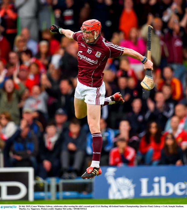 26 July 2015; Conor Whelan, Galway, celebrates after scoring his side's second goal. GAA Hurling All-Ireland Senior Championship, Quarter-Final, Galway v Cork. Semple Stadium, Thurles, Co. Tipperary. Picture credit: Stephen McCarthy / SPORTSFILE