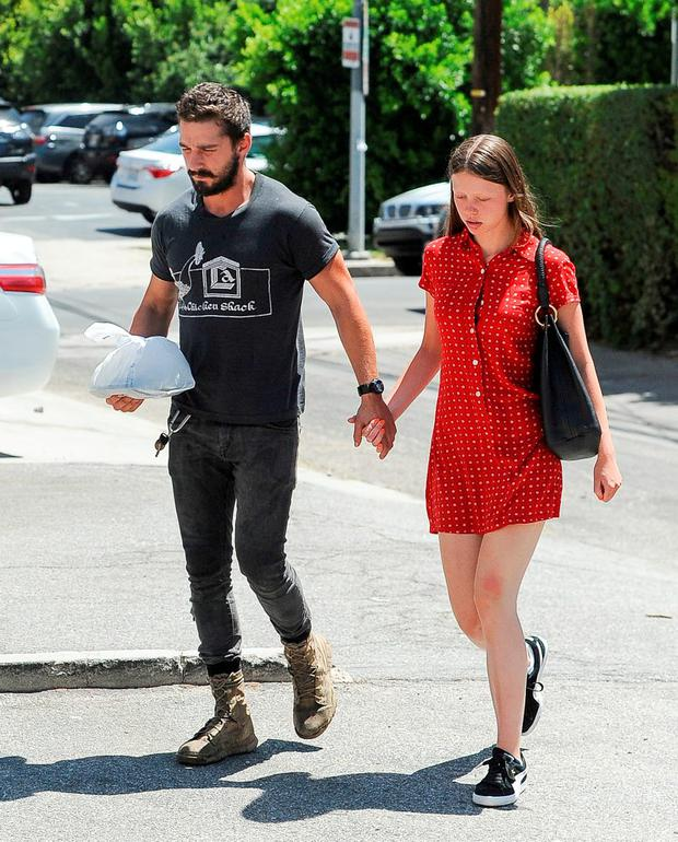 Shia LeBeouf and Mia Goth are seen on August 18, 2014 in Los Angeles, California. (Photo by Bauer-Griffin/GC Images)