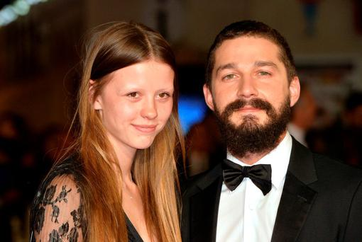 Mia Goth and Shia LeBeouf attend the closing night European Premiere gala red carpet arrivals for