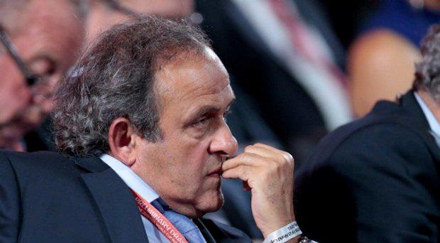 UEFA President Michel Platini watches the preliminary draw for the 2018 soccer World Cup in Konstantin Palace in St. Petersburg, Russia