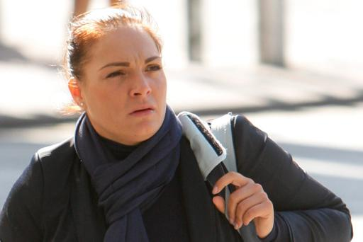Diana Karacsony (32) with an address at Dusztalunh Tnt, Zem/Jajho, at court yesterday (Tues.) where she was given a suspended sentence for assisting in keeping and managing a brothel in an apartment at The Asgard, Custom House Harbour, Dublin 1 on dates between January, 2011 and May, 2012. Pic: Courtpix