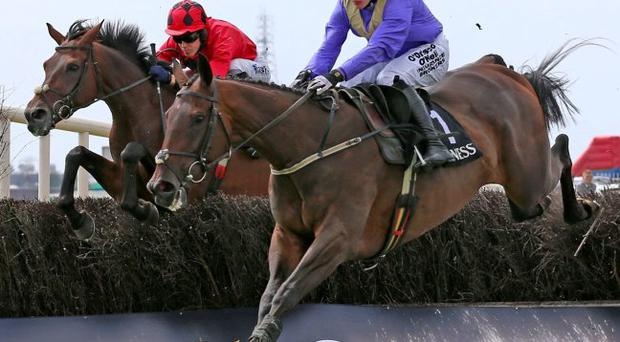 Alelchi Inois, under Paul Townend, leads Starkie on his way to winning the Harp Novice Chase at Galway last year – the horse returns to the track this afternoon for the Plate with the assistance of Ruby Walsh