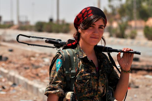 A female fighter from a Kurdish People's Protection Unit