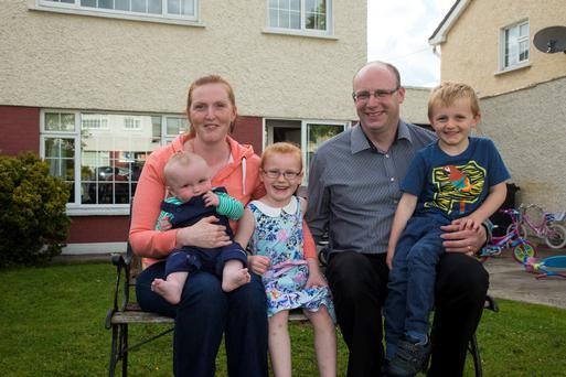 Lisa and John Kenny, from Navan, Co Meath, with their daughter Lauren (6) and sons Sean (4) and Padraig (8 months)