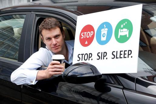 RSA Driver Stuart Porteous gets the message across for the Road Safety Authority's August bank holiday weekend driver fatigue campaign. Photo: Robbie Reynolds