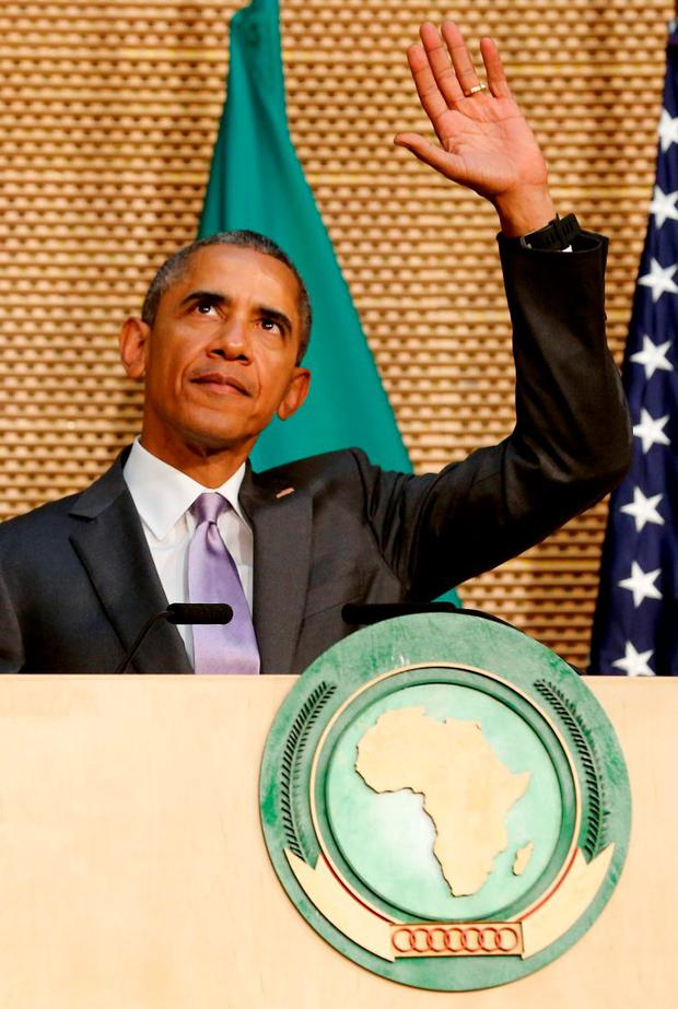 U.S. President Barack Obama delivers remarks at the African Union in Addis Ababa, Ethiopia July 28, 2015. Obama told Ethiopia's leaders on Monday that allowing more political freedoms would strengthen the African nation, which had already lifted millions out of a poverty once rooted in recurring famine. REUTERS/Jonathan Ernst