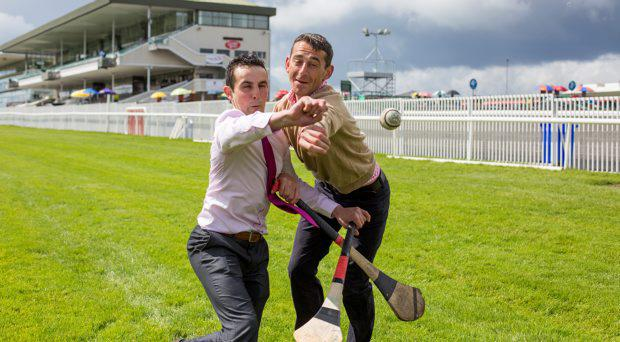 Two times champion national hunt jockey Davy Russell and former Kilkenny hurler and now amateur jockey James Dowling promoting hurling for cancer match which will take place in Kildare on August 11th