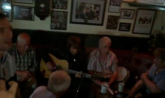 Liam Gallagher in JJ Finan's pub in Charlestown, Mayo. PIC: Andreas Esser/YouTube