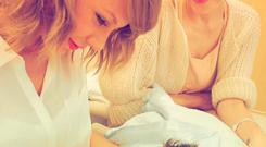 Taylor Swift meets her godson Leo Thames. PIC: Taylor Swift Instagram