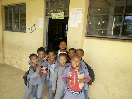 Ethiopian children outside one of Camera's digital learning centres