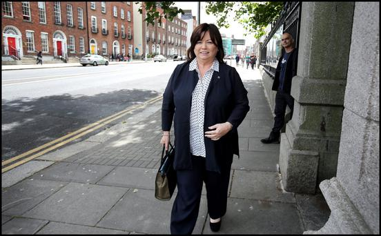 Mary Harney arriving at the Banking Enquiry on Merrion Street. Pic Steve Humphreys