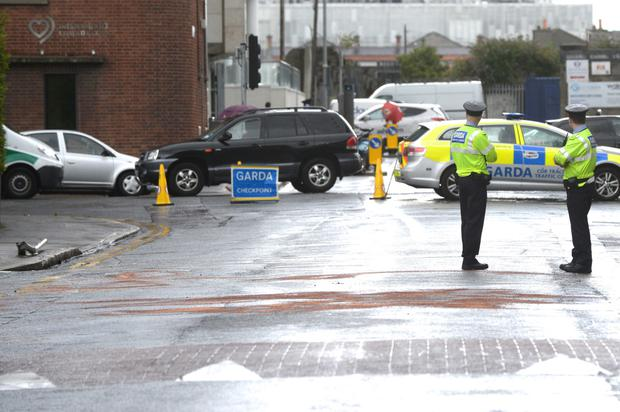 Scene of a crash on Sth Lotts Road Ringsend. Pic: Justin Farrelly.