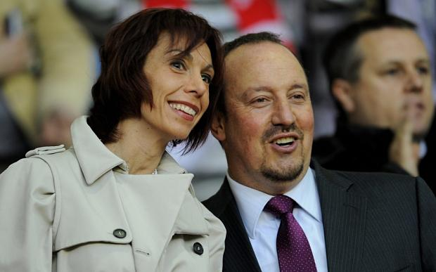 Benitez and his wife Montserrat Seara