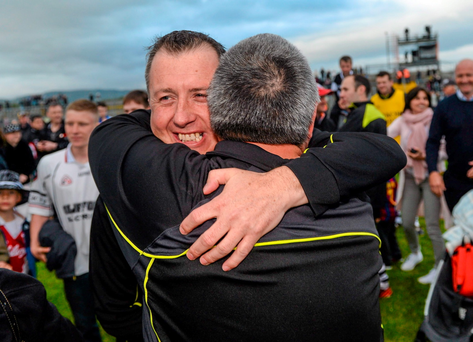 Sligo manager Niall Carew celebrates after beating Roscommon in the Connacht SFC semi-final before being brought down to earth with a heavy defeat against Mayo