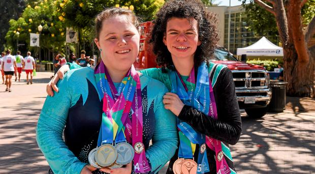 Team Ireland's Kirsty Devlin, who won two gold and two silver in gymnastics, and teammate Ashleigh O'Haganwho won two bronze medals at the John Wooden Center, UCLA.