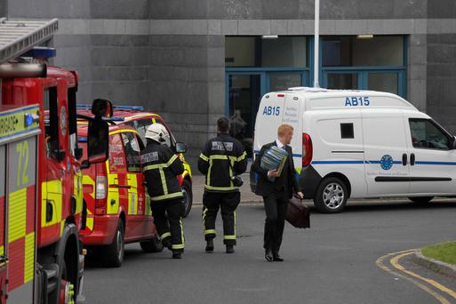 Emergency services at Cloverhill Prison in Dublin yesterday after a major disturbance by prisoners. Photo: Stephen Collins