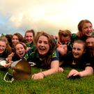 Captain Faye O'Donoghue celebrates with her team-mates after Kerry's victory over Galway in the All-Ireland U16A Ladies Football Championship final in Bruff