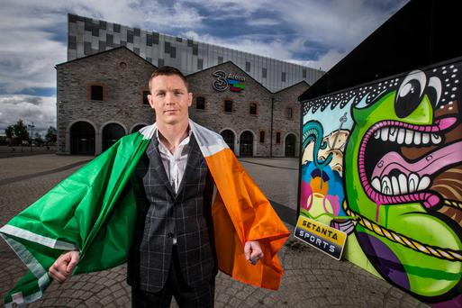 Joe Duffy, the last man to beat Conor McGregor, at the announcement of his UFC fight in Dublin on October 24 against American Dustin Poirier.