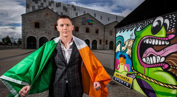 Joe Duffy, the last man to beat Conor McGregor, at the 3Arena yesterday for the announcement of his UFC fight in Dublin on October 24 against American Dustin Poirier.