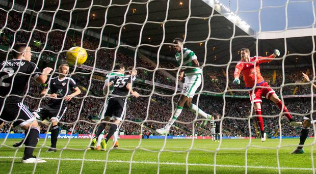 Celtic's Dedryck Boyata scores his side's winning goal against Qarabag