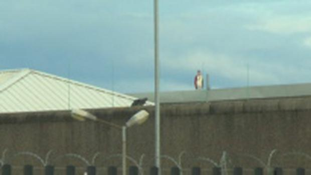 Prisoners on the roof of Cloverhill prison Pic: RTE