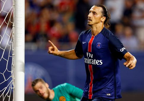 Zlatan Ibrahimovic celebrates scoring against Manchester United in the pre-season friendly