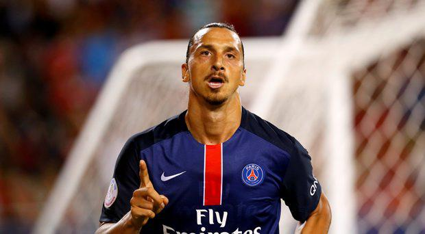 Paris St Germain's Zlatan Ibrahimovic celebrates scoring a goal against Man United