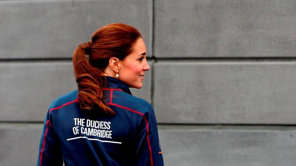 The Duchess of Cambridge arrives to meet staff and guests at BAR (Ben Ainslie Racing) headquarters in Portsmouth, Hampshire, as part of a visit on the second day of the opening leg of the America's Cup World Series being staged in waters off Portsmouth