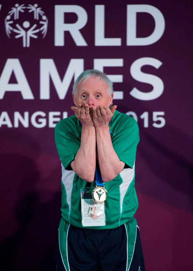 30 July 2015; Team Ireland's Peter Malynn, a member of St Hilda's Work Therapy Unit, from Mullingar, Co. Westmeath, celebrates on the podium after being presented with his Gold Medal, for Bocce, at the Los Angeles Convention Center. Special Olympics World Summer Games, Los Angeles, California, United States. Picture credit: Ray McManus / SPORTSFILE
