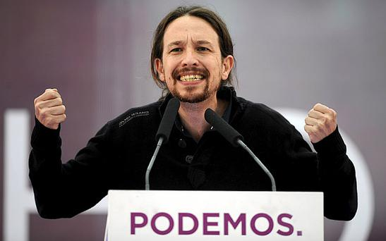 Podemos ('We can') Secretary General Pablo Iglesias speaks during a meeting earlier this year. Photo: REUTERS/Eloy Alonso