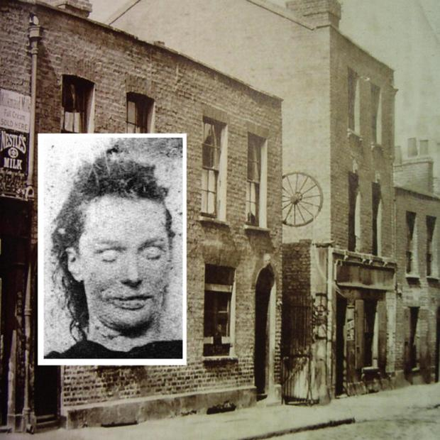 Berner Street where Lizzie Stride (inset) was murdered by Jack The Ripper