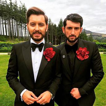 Brian Dowling got hitched to his Armenian choreographer finance Arthur Gourounlia. Pic: Twitter