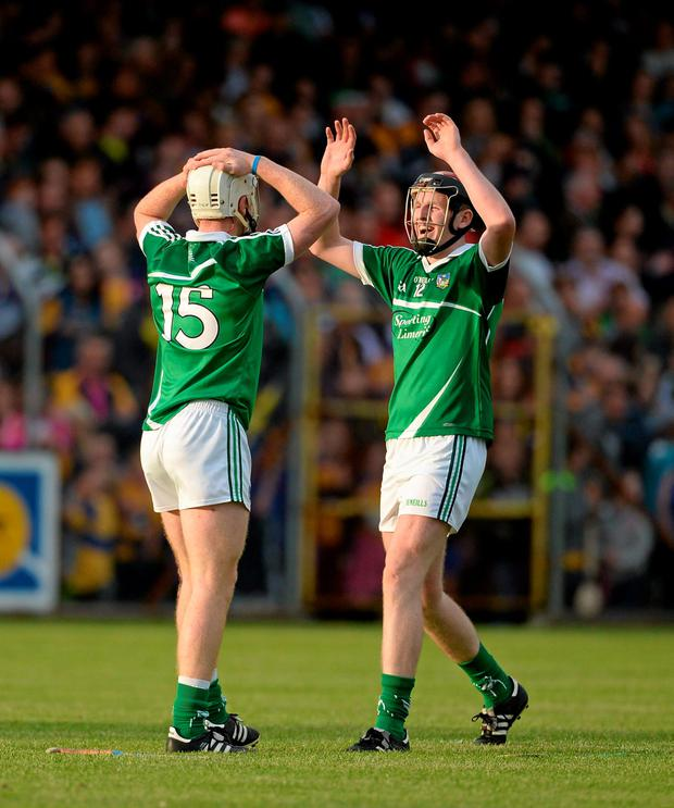 Limerick's Cian Lynch, left, and David Dempsey celebrate