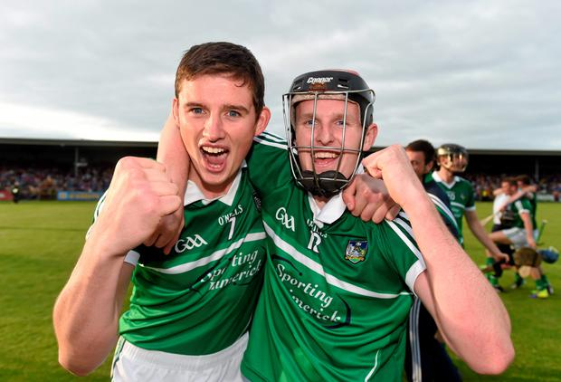 Gearoid Hegarty, left, and David Dempsey, Limerick, celebrate
