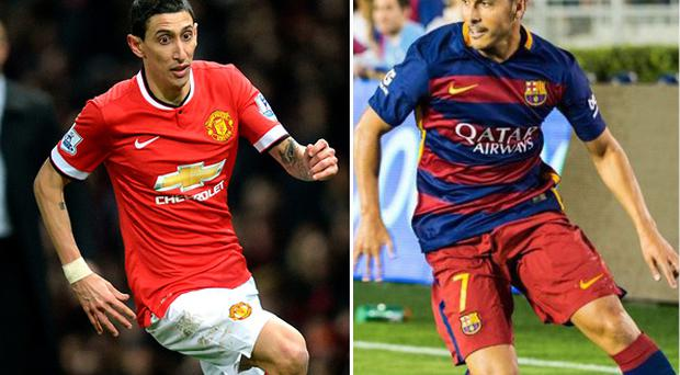 Di Maria will leave Manchester United with (right) arriving