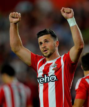 Southampton's Shane Long celebrates after scoring their third goal during the Europa League
