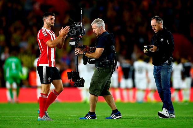 SOUTHAMPTON, ENGLAND - JULY 30: Shane Long of Southampton is filmed by a stedicam operator after the final whistle during the UEFA Europa League Third Qualifying Round 1st Leg match between Southampton and Vitesse at St Mary's Stadium on July 30, 2015 in Southampton, England. (Photo by Jordan Mansfield/Getty Images)