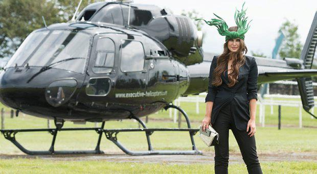 Ireland's leading model, Roz Purcell, judge at the 4 star, Hotel Meyrick's annual most stylish lady competition on Kilkenny's Ladies Day of Galway Race Week 2015. Roz is flying executive helicopters to the Races