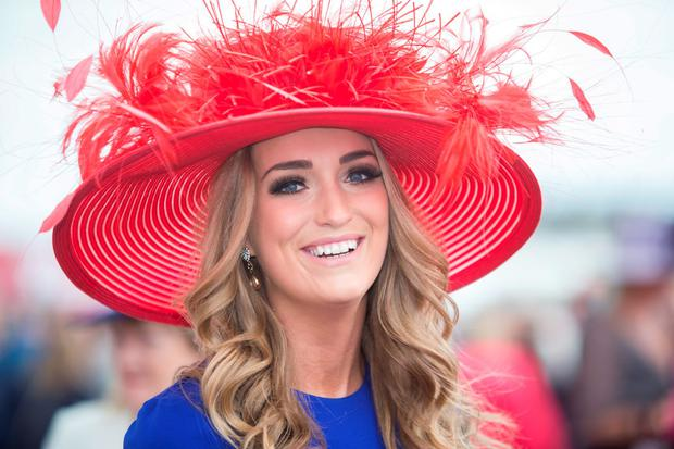 Vicky Holden from Kilkenny enjoying ladies day at the Galway races. Pic:Mark Condren