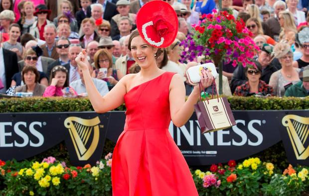 Alex Butler from Midleton County Cork winner of the Kilkenny best dressed on Ladies Day at the Galway races 2015. Pic:Mark Condren