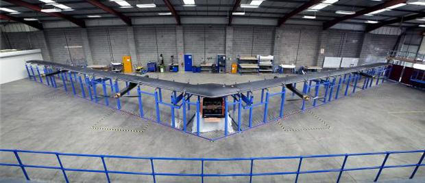 Aquila, a drone with a 130-ft (40-m) wingspan built by social media company Facebook, is shown in this publicity photo released to Reuters on July 30, 2015. REUTERS/Facebook/Handout via Reuters